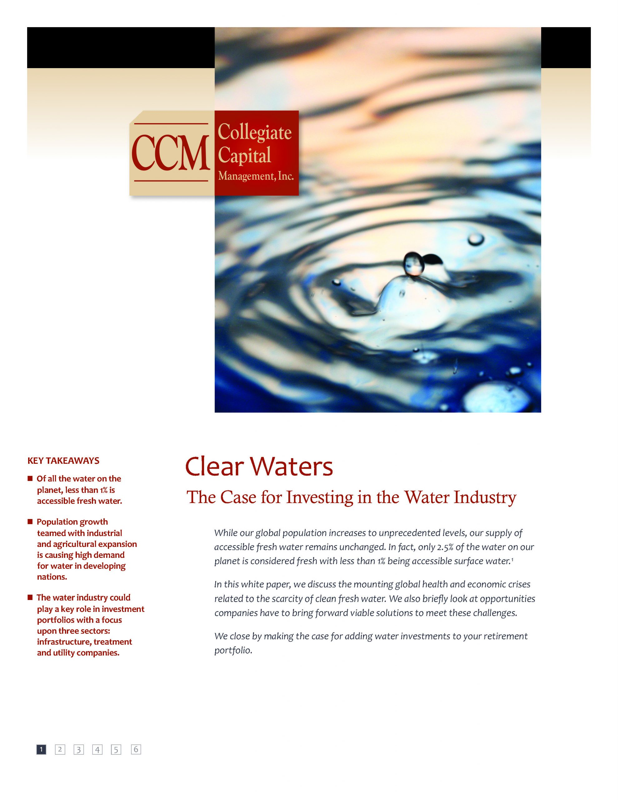 White Paper: Clear Waters- The Case for Investing in the Water Industry